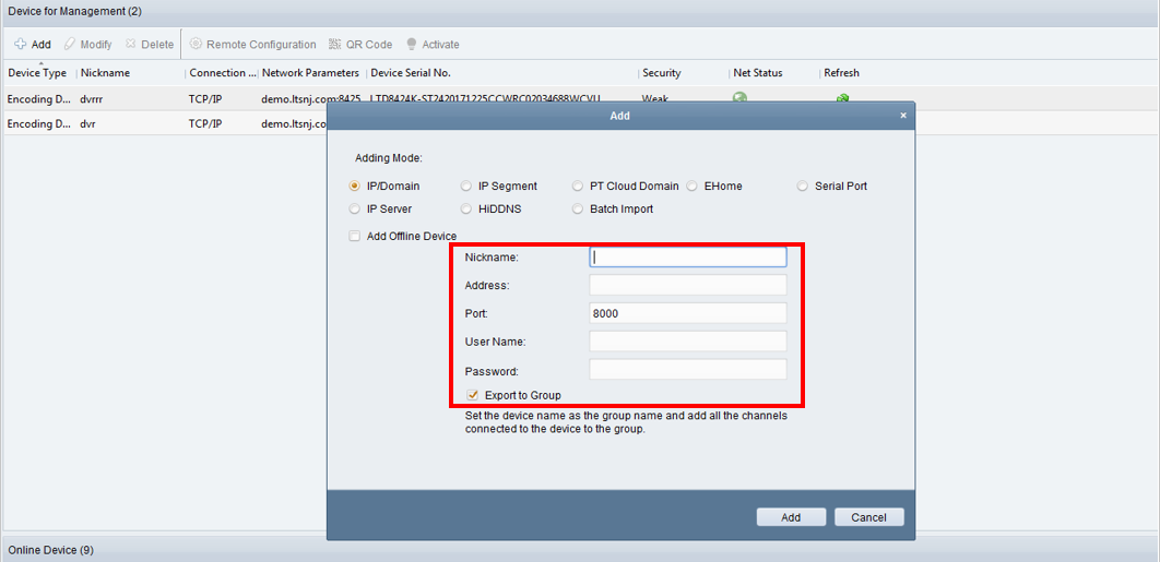Adding Devices to the NVMS7000 PC Client – LTSecurityinc com